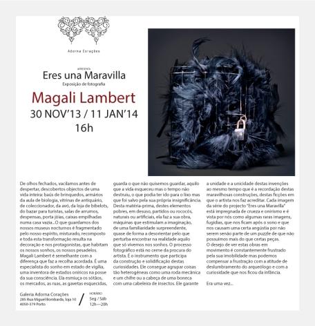 Exposition personnelle Eres una Maravilla, Galerie Adorna Corações, Porto